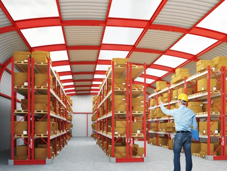 warehouse equipment: fine image of modern 3d warehouse and man on duty