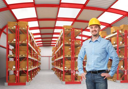 smiling caucasian man in classic warehouse 3d photo