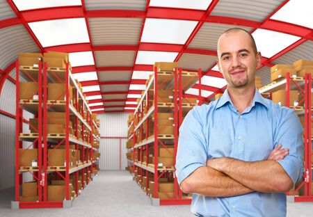 warehouse equipment: confident young worker pose in 3d warehouse