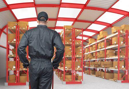 empty warehouse: manual worker on duty in modern warehouse 3d Stock Photo