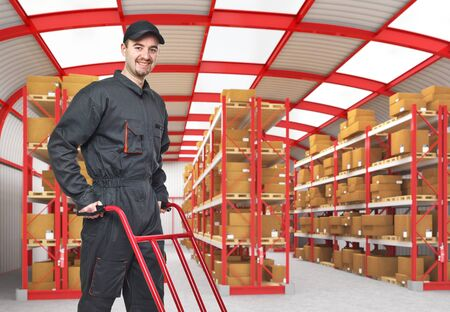 smiling caucasian man in classic warehouse 3d Stock Photo - 9147329