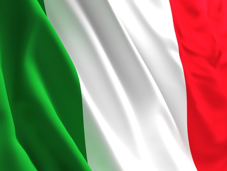 green flag: fine 3d image of waved italian  flag background