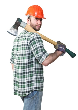 portrait of caucasian standing young worker with axe photo