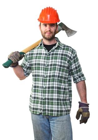 lumberjack: fine portrait of young caucasian lumberjack with axe