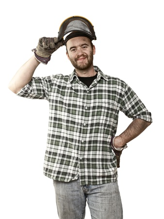 fine portrait of confident young lumberjack on white photo