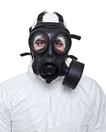 fine portrait of man with classic mask gas isolated on white photo