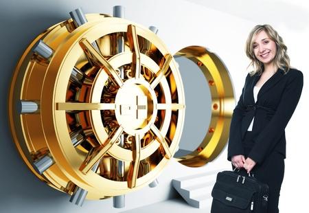 money vault: bank golden vault door 3d and smiling woman