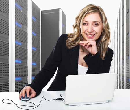 3d image of datacenter with lots of server and woman at work photo