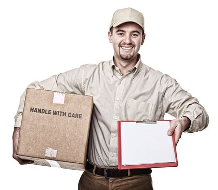 smiling delivery man isolated on white Stock Photo - 9330828