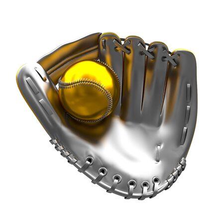 mitt: fine 3d image of silver mitt and golden baseball ball Stock Photo