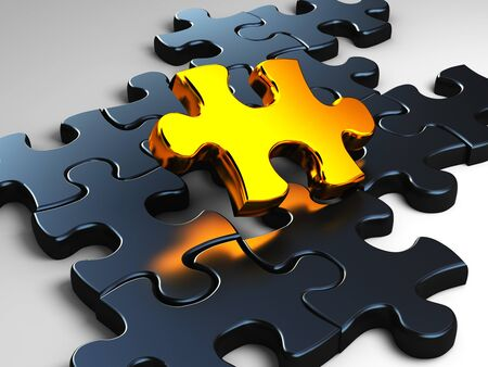 the last: fine 3d image of golden piece of jigsaw Stock Photo