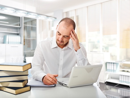 busines: tired worker and fine 3d image of modern office Stock Photo