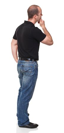 men back: portrait of white adult looking isolated