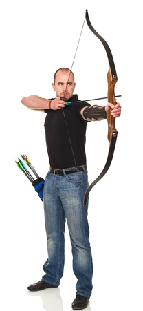 bow and arrow: man with bow isolated on white background