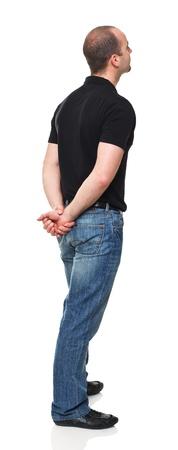 staande man achteraanzicht geïsoleerd op witte achtergrond