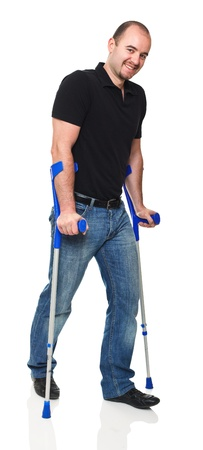 crutch: man with crutch isolated on white background Stock Photo