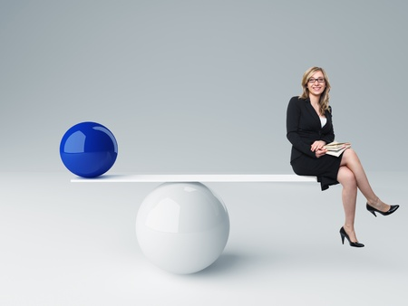 small business office: smiling woman and 3d balance