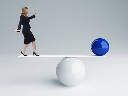 sphere standing: young businesswoman and 3d balance background Stock Photo
