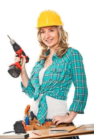craftman: portrait of woman carpenter isolated on white background