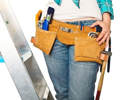 detail of handywoman isolated on white background photo