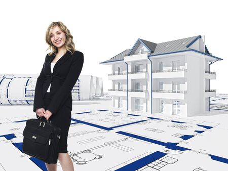 smiling blonde woman and 3d house background photo