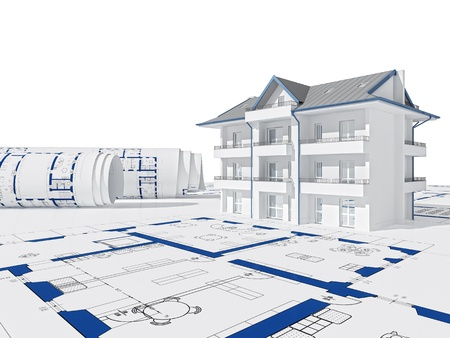 house work: blue print and 3d house background