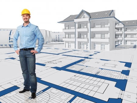 smiling architect and 3d project house Stock Photo - 9591766