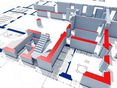 office plan: fine 3d image of model on blueprint