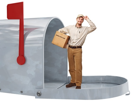 handtruck: smiling delivery man in 3d metal classic letter box Stock Photo