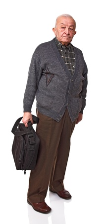 old man standing: senior standing with laptop bag isolated on white