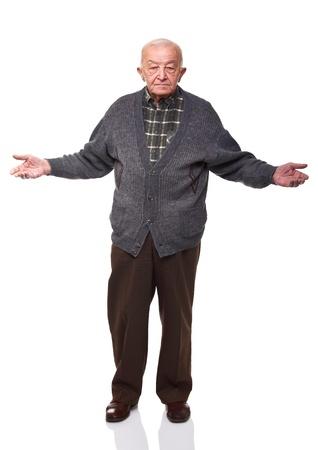 vieux: commandes caucasien old man oper bras isol�s sur fond blanc
