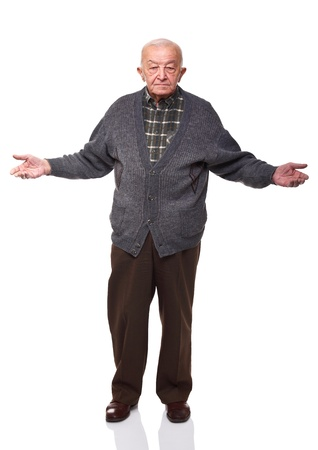 old man standing: standing caucasian old man oper arms isolated on white
