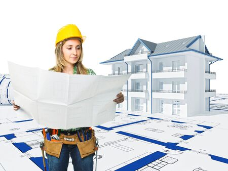 woman at work and  3d house background Stock Photo - 9693098