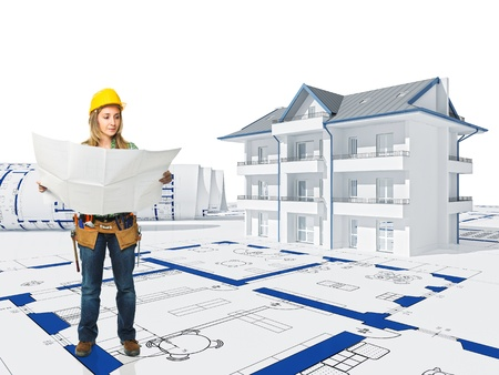 caucasian woman: manual worker on 3d house background Stock Photo