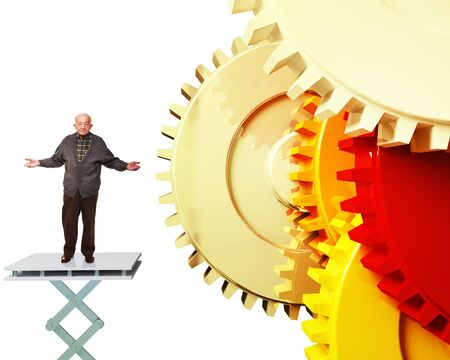 able: old man is not able to make gear work Stock Photo