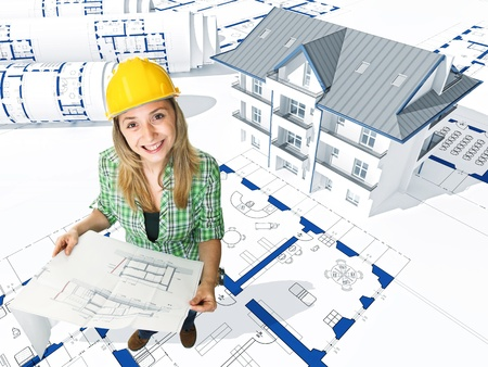 smiling engineer with blue print and 3d house background photo