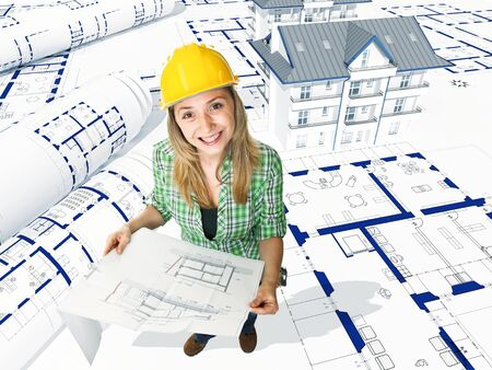smiling female engineer at work on 3d model photo