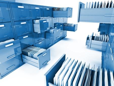 clásico archivo 3d gabinete aisladas sobre fondo blanco Foto de archivo