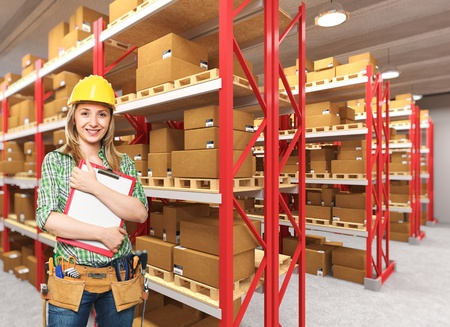 warehouse worker: smiling manual worker in 3d warehouse