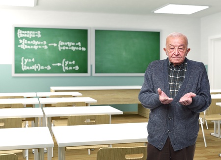 school aged: old teacher open arms in 3d classroom