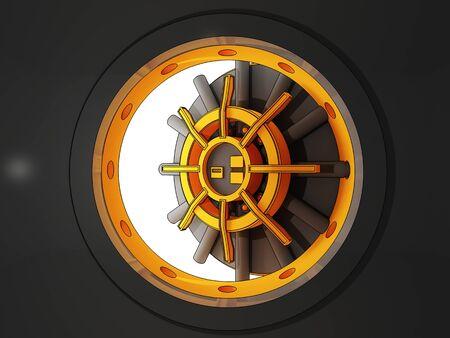 3d illustration cartoon style of classic bank door vault illustration