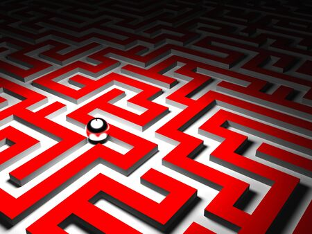 proble: 3d image of red maze and silver ball