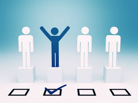 list of successful candidates: red happy man hand up after selection