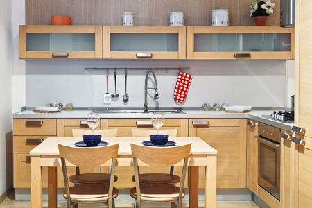 image of modern wood kitchen with table and chair Stock Photo - 9853036