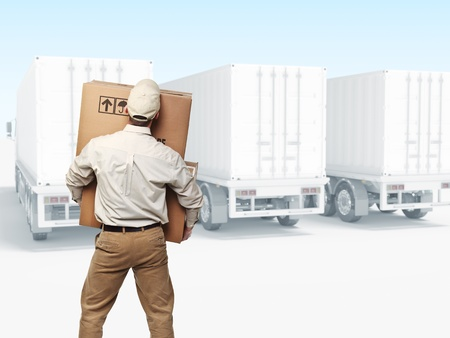 delivery man on duty with truck background photo