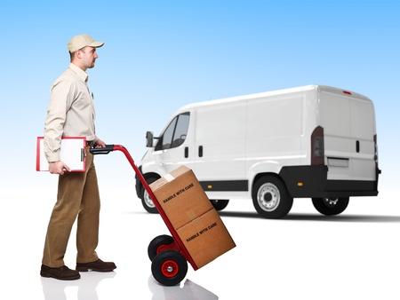 handtruck: standing worker with handtruck