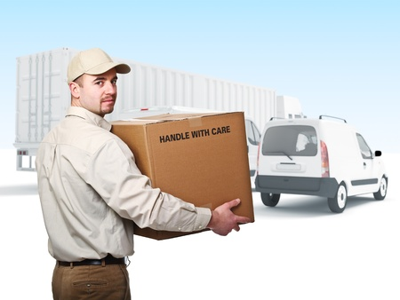 confident worker and truck background Stock Photo - 9853136