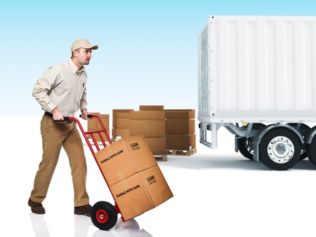 handtruck: young delivery man with red handtruck