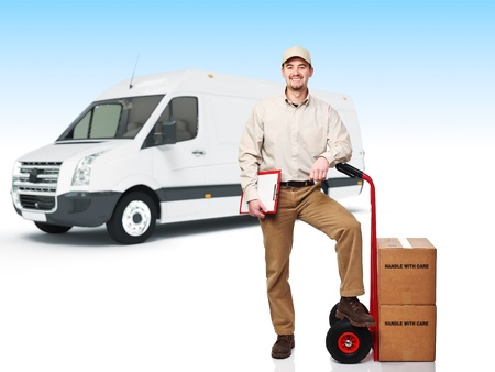smiling worker with handtruck, 3d truck background photo