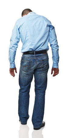 businness: standing caucasian man rear view isolated on white
